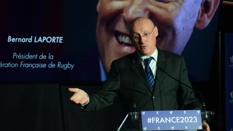 Bernard Laporte, President of the French Rugby Federation (FFR) Gives A Press Conference In Paris